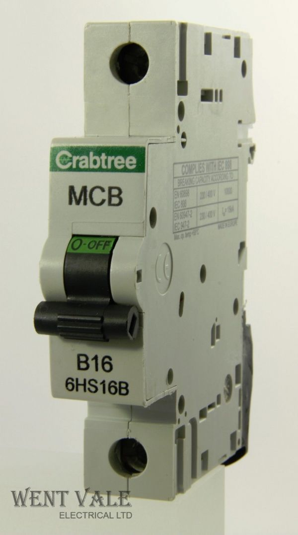 Crabtree Loadstar - 6HS16B - 16a Type B Single Pole MCB Used